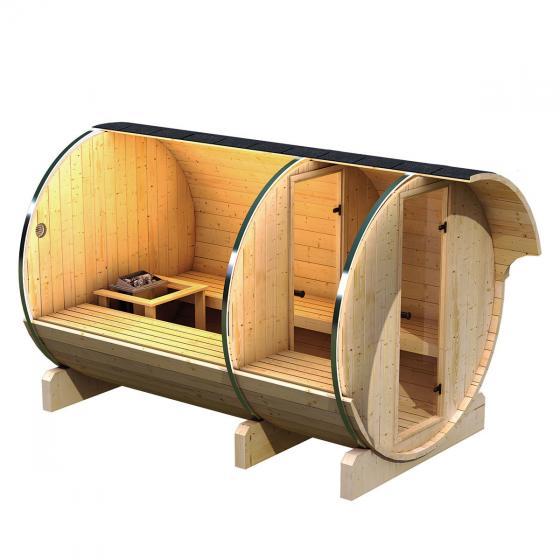 Fass-Sauna Helmi mit 9,0 kw Bio-Kombiofen, 216x216x330 cm, natur | #2