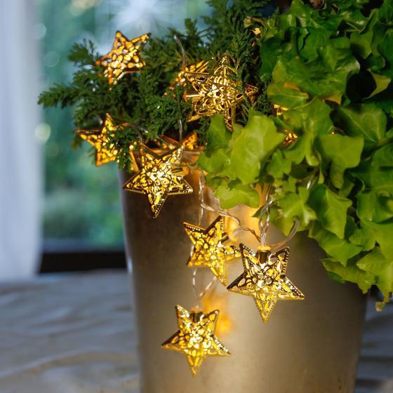 LED-Lichterkette Sterne, 135 cm, Metall, gold | #2
