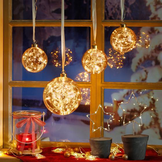 LED-Glaskugel Golden Glow, 15x15x15 cm, Glas, klar | #2