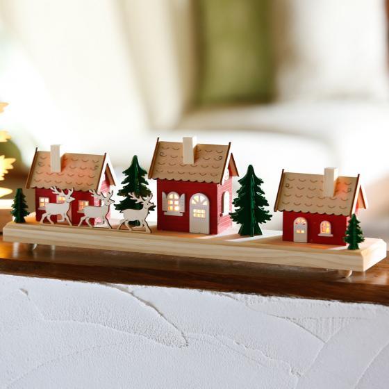 Star LED-Winterszene Schwedenhaus, 15x43x8 cm, Holz, rot | #2