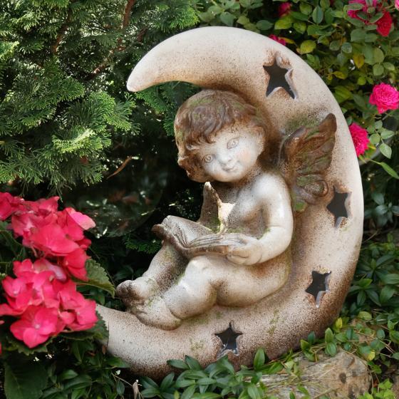 Gartenfigur Mondschein mit LED Licht, 42x28x42 cm, Fiberglas, grau | #2
