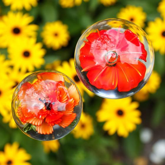 Glaskunst-Stecker roter Blütentraum inkl. Stab, 2er-Set, 6x100 cm | #2