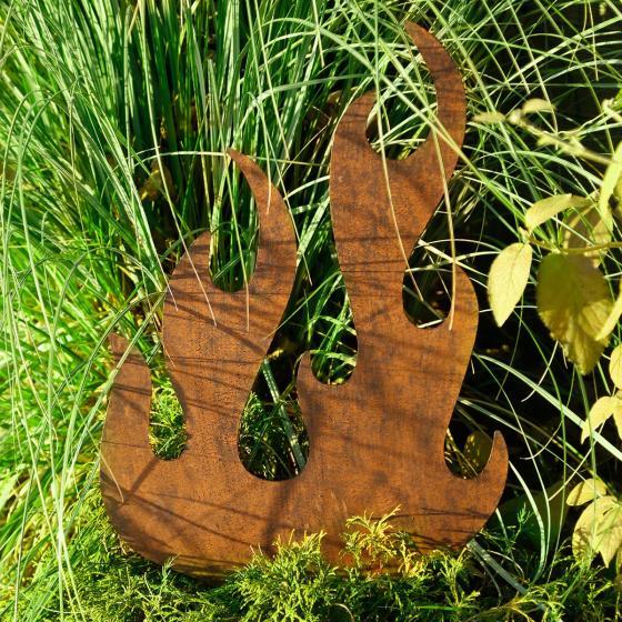 Gartenstecker Flamme, 96,5x1,5x50 cm, Eisen, rost-braun | #2