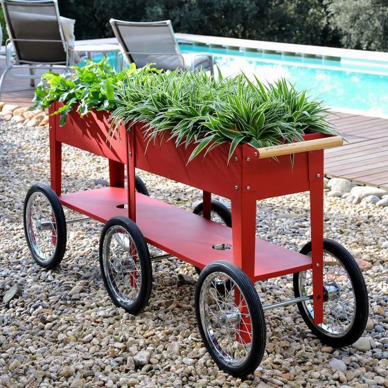 Hochbeet Urban Garden Wheels, rot, 150x35x80 cm | #2