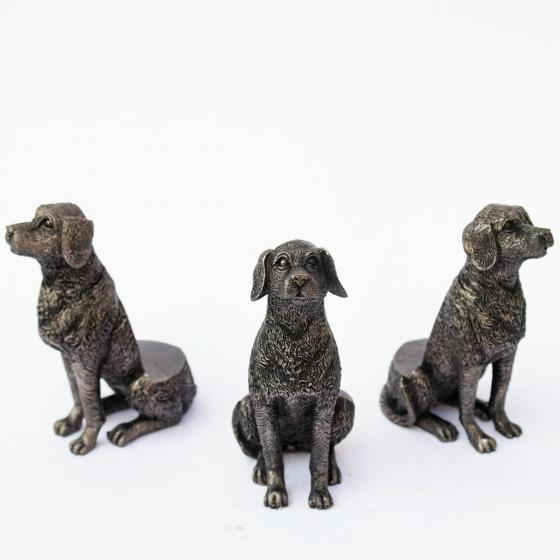Kübelfuß Bronzeoptik 3er-Set Hündchen, 8,5x5,5x11,5 cm | #2