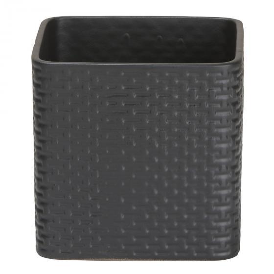Keramik-Übertopf Ribbon, 17,6x18x18 cm, anthrazit | #2