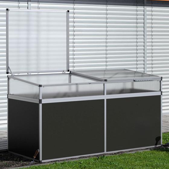 Aluminium-Hochbeet 210, anthrazit/silber, mit Frühbeetaufsatz, 205x91x109 cm | #2