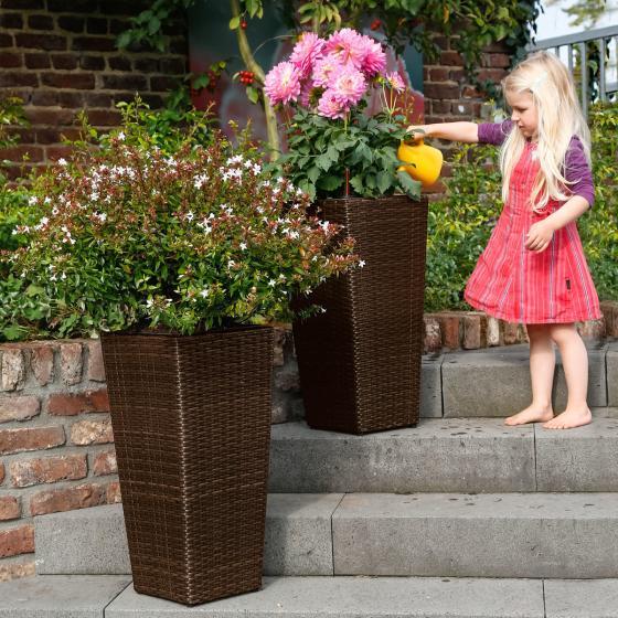 Outdoor-Rattan-Pflanzkübel mit Bewässerungssystem, konisch, 64x31x31 cm, kaffee braun | #2