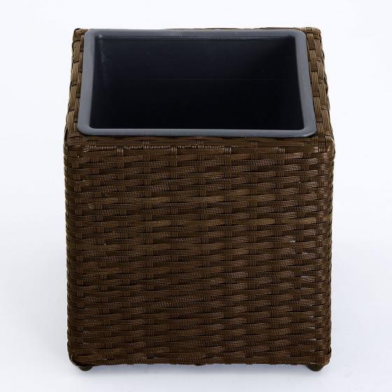 Outdoor-Rattan-Pflanzkübel mit Bewasserungssystem, quadratisch, 28x28x28 cm, kaffee braun | #2