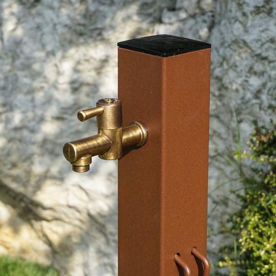 Wasserzapfsäule Quadra, 100x14x21 cm, Stahl, braun | #2
