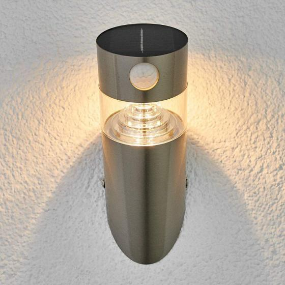 Solar-LED-Wandlampe Kalypso mit Bewegungsmelder, 21,3x7,6x7,6 cm, Edelstahl, silber | #2
