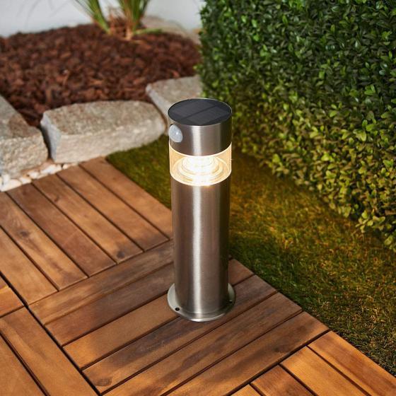 Solar-LED-Sockelleuchte Kalypso mit Bewegungsmelder, 30x7,6x7,6 cm, Edelstahl, silber | #2