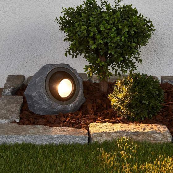 Solar-LED-Leuchtstein Lior, 16x19,5x14 cm, grau | #2