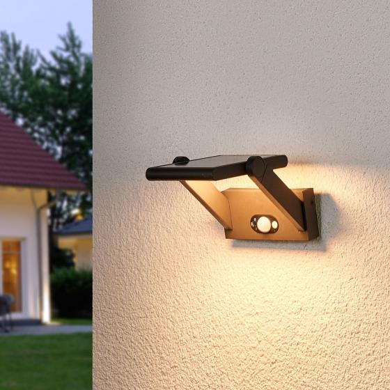 Solar-LED-Außenwandleuchte Valerian mit Bewegungsmelder, 16x23,3x15,2 cm, Aluminium, grau | #2