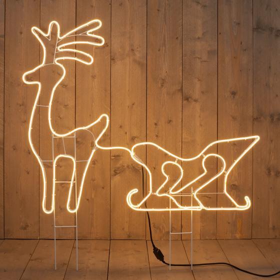 Neon-LED-Rentierschlitten, 90x115x2 cm, Metall, weiß | #2
