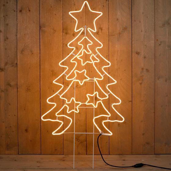 Neon-LED-Tannenbaum, 120x66x2 cm, Metall, weiß | #2