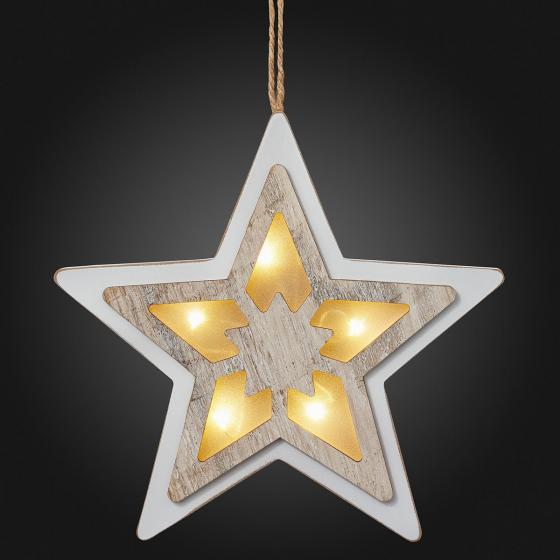 LED-Fensterdeko Stern, 20x20x2 cm, Holz und Kunststoff, weiß | #2