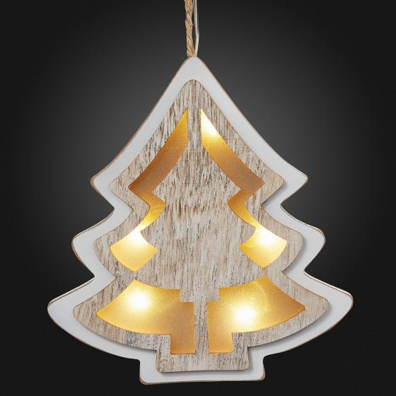 LED-Fensterdeko Baum, 20x17x2 cm, Holz und Kunststoff, weiß | #2