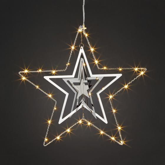 LED-Fensterdeko 3D-Stern, 30 cm, Metall, silber | #2