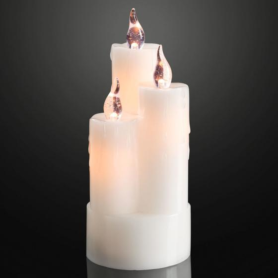 LED-Kerze Trio, 8x8x20 cm, Kunststoff, weiß | #2