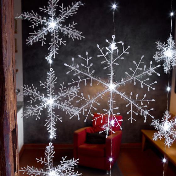 LED-Lichtervorhang Schneeflocken, 150x120 cm, Kunststoff, weiß | #2