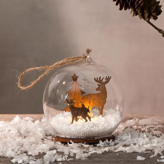 Star LED-Dekokugel Fauna, 9x8x8 cm, Glas, klar natur | #2