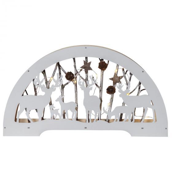 LED-Dekoleuchter Rentiere, 45x6x25 cm, Holz, weiß | #2