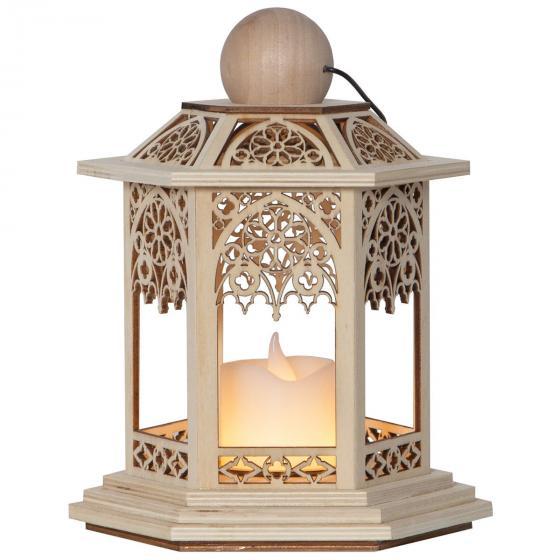 LED-Holzlaterne Lace, 14x14x20 cm, Holz, natur | #2