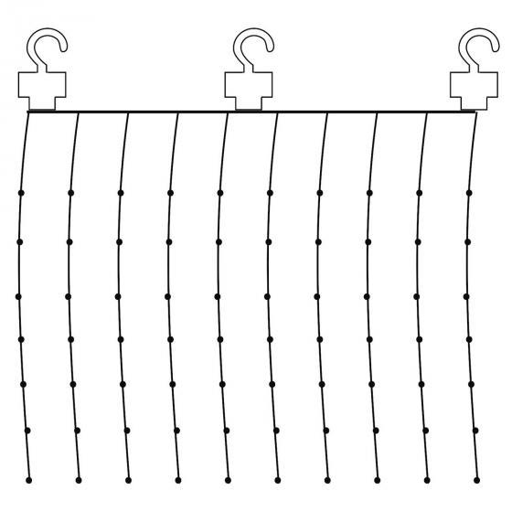 Micro-LED-Vorhang Dew Drops, 100x100 cm, Kunststoff, silber | #2
