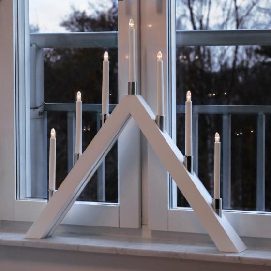 LED-Fensterleuchter Tall A, 66x63x7 cm, Holz, weiß | #2