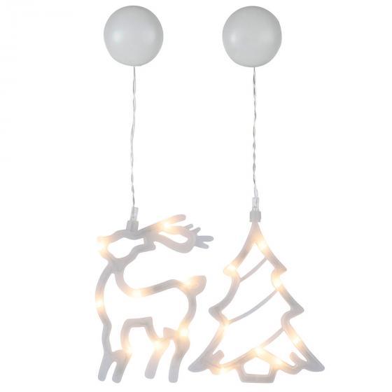 Star LED-Fenstersilhouette 2er-Set, Tanne und Rentier, Kunststoff, weiß   #2