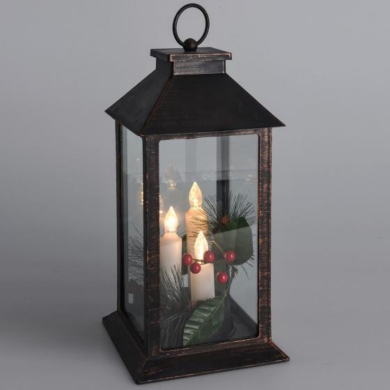 LED-Laterne Weihnachtszeit, 29x14x14 cm, Kunststoff und Glas, schwarz gold | #2
