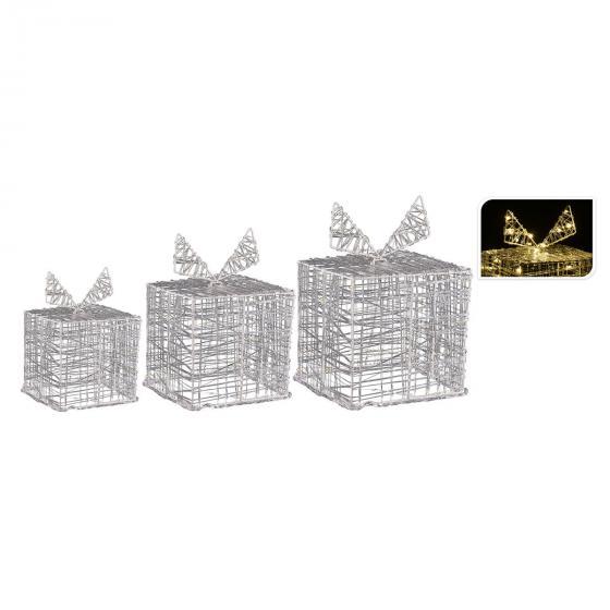 Micro-LED-Geschenke, 3er-Set, 20x20x20cm, Acryl, transparent   #2