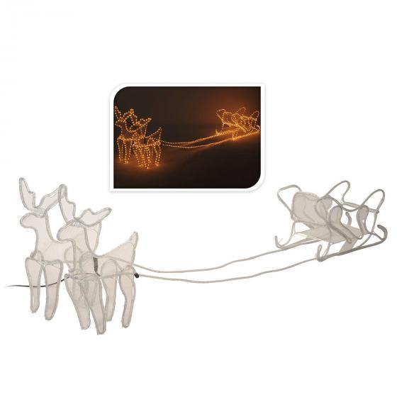LED-Rentier-Gespann mit Schlitten, 230x50x52cm, Metall, weiß | #2