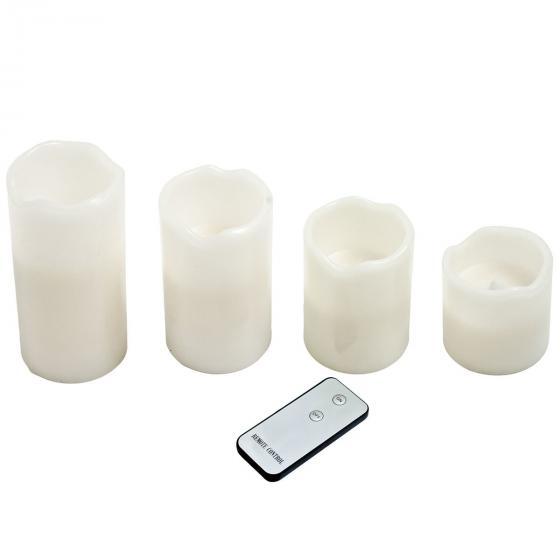 LED-Echtwachskerze 4er-Set mit Fernbedienung, Paraffinwachs und Kunststoff, weiss | #2