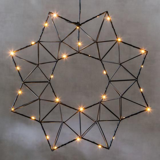 Star LED-Leuchtstern Modern Christmas, 38x38x7 cm, Metall, schwarz | #2