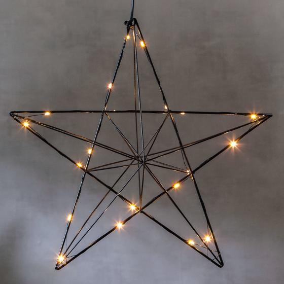 Star LED-Leuchtstern Line, 36x38x10 cm, Metall, schwarz | #2