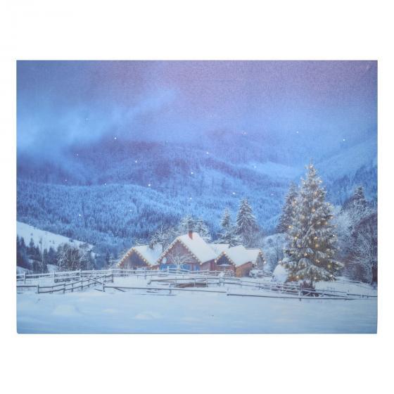 LED-Bild Winteridyll, 40x1,5x30cm, Canvas, bunt   #2
