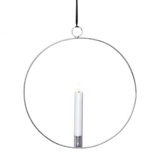 Star LED-Fensterdeko Flammenring, 30x28x2 cm, Metall und Wachs, silber | #2