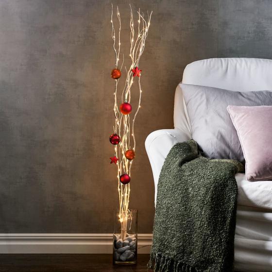 Star LED-Weidendeko, 115x10x10 cm, Holz, weiß | #2