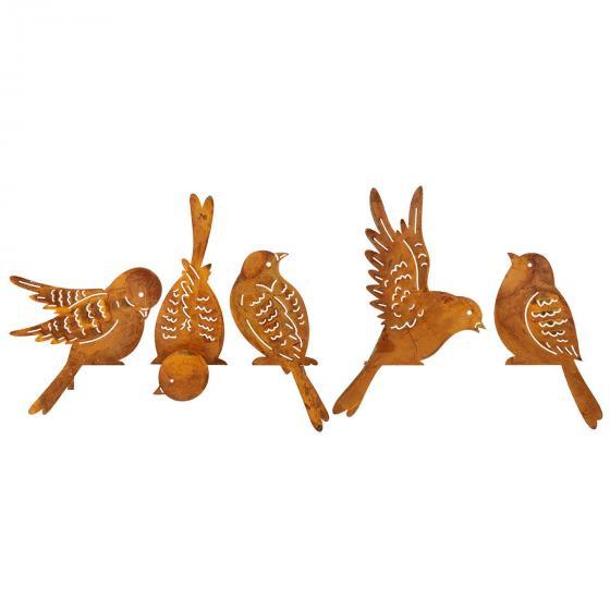 Zaundeko, Vögel 5er-Set,6-15x16-19 cm, Metall | #2