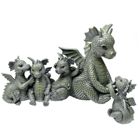 Kantendeko Drachenfamilie, 24x12x22 cm, Kunststein, grau | #2