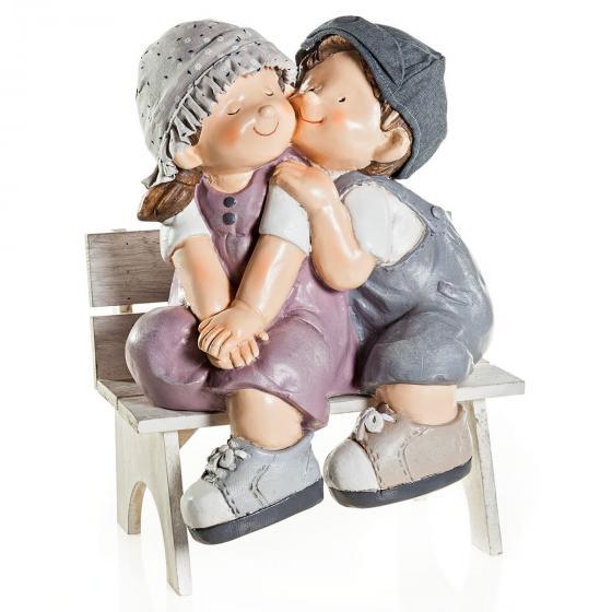 Dekofigur Emma und Olli auf Bank, 2-teilig, aus Kunststein, 32x24,5x42 cm | #2