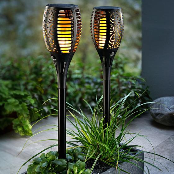 Solar Gartenstecker Flame 2er-Set, Flammeneffekt durch 51 LEDs,47 cm, Erdspieß ca. 11 cm | #2