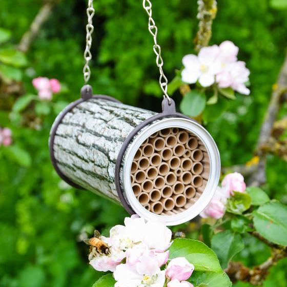 Bienenhotel mit Räuberschutz, bedruckte Metalldose, L 16 cm, Ø 9 cm | #2