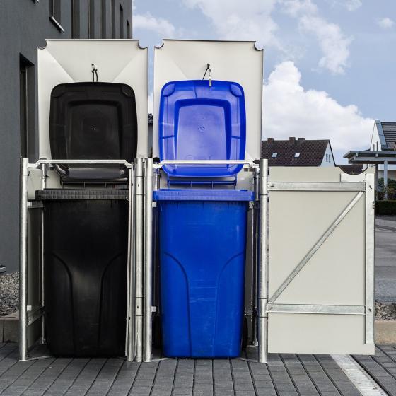 Mülltonnenbox 140l Kunststoff, 2er Box, grau | #2