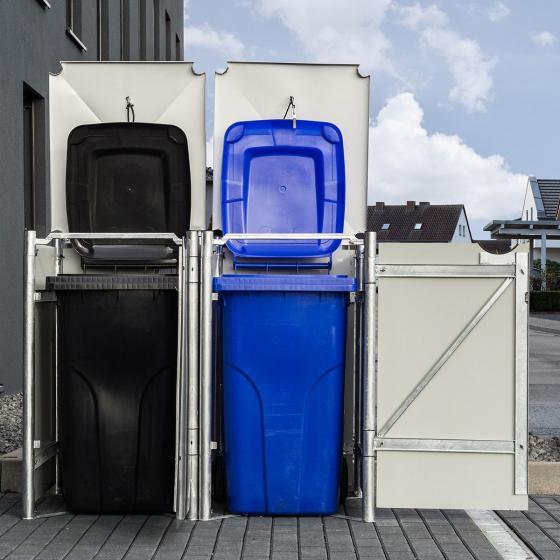 Mülltonnenbox 240l Kunststoff, 2er Box, grau | #2