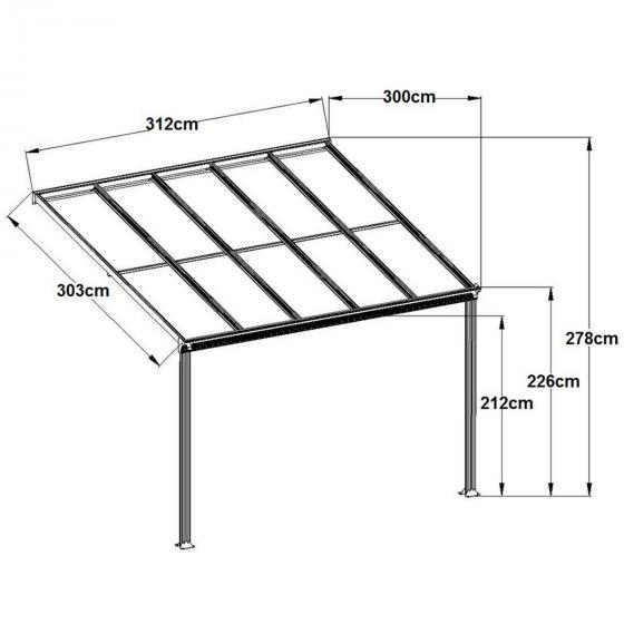 Terrassenüberdachung B 312 x T 303 cm grau | #2