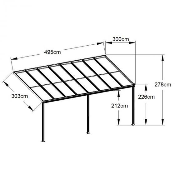 Terrassenüberdachung 9760, Aluminium pulverbeschichtet, ca. 495 x 303 x 278 cm   #2