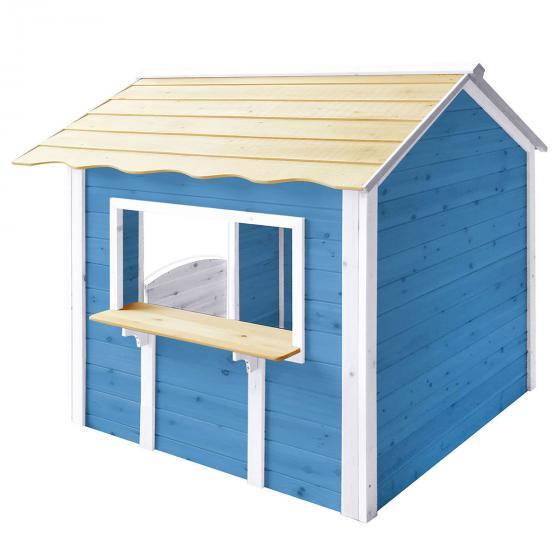 Kinder Spielhaus großer Palast, blau und weiß lasiert, ca. 138 x 118 x 132,5 cm | #2